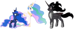 Size: 2089x824 | Tagged: alicorn, alicornified, alternate universe, armor, celestibra, celumbra, covered cutie mark, crown, cutie mark, diplomacy, edit, ethereal mane, female, hidden cutie mark, hoof shoes, implied celestibra, implied celumbra, implied lumbra, implied polyamory, implied shipping, jewelry, king sombra, king sombra gets all the mares, long horn, lumbra, majestic, male, mane, mare, mysterious, ot3, peytral, polyamory, pony, princess celestia, princess luna, race swap, regal, regalia, royalty, safe, serious, serious face, shipping, shipping fuel, sombracorn, stallicorn, stallion, starry mane, stoic, straight, trio