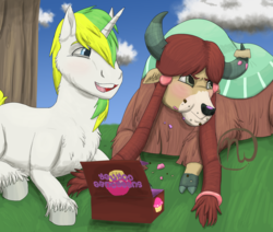 Size: 2600x2200 | Tagged: age difference, artist:azurllinate, canon x oc, chuckle, cloven hooves, crumbs, cupcake, embarrassed, female, food, hungry, laying down, male, messy eating, oc, oc:sol bright, pony, safe, shipping, solna, story included, sugarcube corner, tree, unicorn, yak, yona
