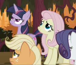 Size: 619x532 | Tagged: safe, screencap, mean applejack, mean fluttershy, mean rarity, mean twilight sparkle, pony, the mean 6, clone, cropped, evil grin, female, grin, smiling