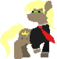 Size: 292x300 | Tagged: artist:minus, clothes, cutie mark, derpibooru exclusive, earth pony, looking back, male, necktie, oc, oc only, oc:perseus, pixel art, pony, safe, shirt, simple background, solo, squint, stallion, transparent background