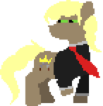 Size: 292x300 | Tagged: safe, artist:minus, derpibooru exclusive, oc, oc only, oc:perseus, earth pony, pony, clothes, cutie mark, looking back, male, necktie, pixel art, shirt, simple background, solo, squint, stallion, transparent background