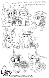 Size: 800x1266 | Tagged: safe, artist:omny87, fluttershy, pinkie pie, princess cadance, rainbow dash, alicorn, earth pony, pegasus, pony, :t, bouquet, candy, chocolate, confused, cute, cutedance, derp, dialogue, disgusted, eating, female, floppy ears, flower, food, happy, herbivore, horses doing horse things, mare, monochrome, nom, open mouth, puffy cheeks, pumpkin, simple background, sketch, smiling, wat, white background, wide eyes