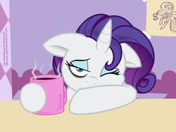 Size: 1600x1200 | Tagged: safe, artist:fitzoblong, artist:joey darkmeat, edit, rarity, pony, unicorn, bags under eyes, coffee, coffee mug, colored, cute, drink, female, morning ponies, mug, raribetes, solo, tired