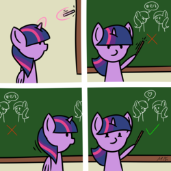Size: 5800x5800 | Tagged: absurd res, alicorn, artist:maneingreen, chalkboard, check mark, classroom, comic, crying, cute, drawing, eye contact, female, frown, glare, glowing horn, grawlixes, heart, hoof hold, levitation, looking at each other, magic, mare, mean, open mouth, pictogram, pointer, pointing, pony, sad, safe, smiling, smirk, solo, spoken heart, teaching, telekinesis, twiabetes, twilight sparkle, twilight sparkle (alicorn)