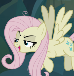 Size: 919x938   Tagged: safe, screencap, mean fluttershy, pony, the mean 6, clone, cropped, female, flying, lidded eyes, mocking, open mouth, solo