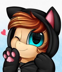 Size: 1722x2003 | Tagged: safe, artist:pridark, oc, oc only, oc:pancake, pony, bust, cat hoodie, clothes, commission, cute, female, gradient background, heart, hoodie, looking at you, mare, ocbetes, one eye closed, portrait, smiling, solo, wink