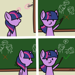 Size: 5800x5800 | Tagged: absurd res, alicorn, artist:maneingreen, broken hearts, chalkboard, check mark, classroom, comic, crying, cute, drawing, edit, eye contact, female, frown, glare, glowing horn, grawlixes, heart, heartbreak, hoof hold, levitation, looking at each other, loss edit, loss (meme), magic, mare, mean, meme, on back, open mouth, pictogram, pointer, pointing, pony, sad, safe, smiling, smirk, solo, spoken heart, teaching, telekinesis, twiabetes, twilight sparkle, twilight sparkle (alicorn), wat