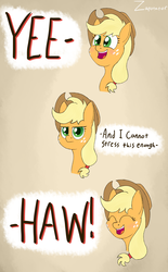 Size: 2393x3850 | Tagged: safe, artist:zaponator, applejack, earth pony, pony, applejack's hat, clothes, comic, cowboy hat, cute, dialogue, eyes closed, female, freckles, hat, jackabetes, mare, meme, open mouth, ponified meme, silly, silly pony, solo, who's a silly pony, yeehaw