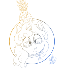 Size: 1225x1400 | Tagged: artist:fuzon-s, blep, bust, female, food, glasses, gradient lineart, looking at you, mare, oc, oc:eleos, oc only, pineapple, pony, portrait, safe, silly, sketch, solo, style emulation, tongue out, unicorn, yuji uekawa style