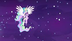 Size: 1920x1080 | Tagged: safe, screencap, princess celestia, starlight glimmer, alicorn, pony, unicorn, a royal problem, cutie mark, dream, dream realm, dream walker celestia, ethereal mane, female, floppy ears, flowing mane, flying, holding a pony, luna's cutie mark, mare, momlestia fuel, sad, sadlestia, sadlight glimmer, spread wings, swapped cutie marks, wings