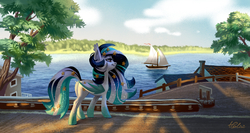 Size: 2067x1102 | Tagged: safe, artist:holivi, oc, oc only, oc:wistful galaxy, bat pony, pony, bat pony oc, boat, commission, female, mare, ocean, original character do not steal, scenery, scenery porn, solo, sparkly mane, tree, water