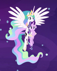 Size: 720x899 | Tagged: safe, screencap, princess celestia, starlight glimmer, alicorn, pony, unicorn, a royal problem, cropped, dream, dream realm, ethereal mane, female, floppy ears, flowing mane, holding a pony, mare, momlestia fuel, sad