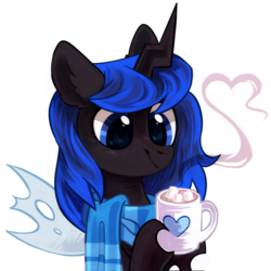 Size: 1700x1700   Tagged: safe, artist:mirtash, oc, oc only, oc:blue visions, changeling, blue changeling, changeling oc, clothes, cup, digital art, female, food, hot coco, insect wings, marshmallow, rcf community, scarf, solo, ych result
