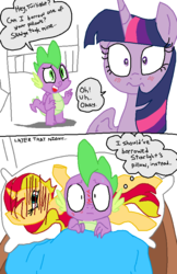 Size: 576x887 | Tagged: safe, artist:emositecc, color edit, colorist:nightshadowmlp, edit, spike, sunset shimmer, twilight sparkle, alicorn, dragon, pony, unicorn, father knows beast, bed, blushing, body pillow, colored, dialogue, episode reference, implied lesbian, implied shipping, implied sunsetsparkle, pillow, twilight sparkle (alicorn), winged spike