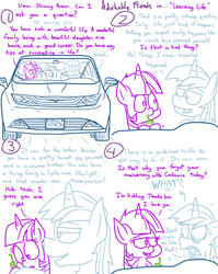 Size: 1280x1611 | Tagged: safe, artist:adorkabletwilightandfriends, shining armor, twilight sparkle, alicorn, pony, unicorn, comic:adorkable twilight and friends, adorkable, adorkable friends, adorkable twilight, advice, brother, car, chrysler, chrysler pacifica, comic, cute, dork, drinking straw, drinking through a straw, driving, family, female, humor, implied moondancer, implied spike, juice, juice box, learning, license plate, life, lineart, male, mango juice, minivan, nervous, prank, real talk, relatable, scared, sister, slice of life, sweat, twilight sparkle (alicorn), van