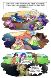 Size: 1800x2740 | Tagged: adoptable, adoption, alicorn, alicorn oc, artist:candyclumsy, beaten up, big macintosh, blood, bloody, chair, child, coffee, coffee cup, comic, comic:fusing the fusions, comic:royal drama, commissioner:bigonionbean, cup, cute, daydream, dialogue, doll, family, father and son, female, flash sentry, foal, fusion, fusion:king speedy hooves, fusion:queen galaxia, future events, herd, hug, human, humanized, human oc, magic, male, mother and son, nightmare fuel, nuzzling, oc, oc:king speedy hooves, oc:queen galaxia, oc:tommy the human, photo album, picnic, picnic blanket, ponified, pony, princess cadance, princess celestia, princess luna, safe, scared, scroll, shining armor, smiling, terror, toy, trouble shoes, twilight sparkle, twilight sparkle (alicorn), writer:bigonionbean