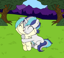 Size: 961x876 | Tagged: safe, artist:linedraweer, oc, oc:alexander cheval, oc:melody, pegasus, pony, unicorn, baby, bipedal, brother and sister, commission, female, foal, hug, hug from behind, male, park, siblings, underhoof, wings