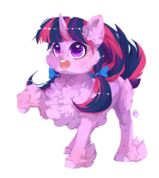 Size: 895x1000   Tagged: safe, artist:rossignolet, twilight sparkle, pony, bow, cheek fluff, chest fluff, cute, ear fluff, female, fluffy, hair bow, heart eyes, open mouth, pigtails, raised hoof, simple background, solo, transparent background, twiabetes, twintails, unshorn fetlocks, wingding eyes