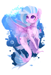 Size: 816x1200   Tagged: dead source, safe, artist:rossignolet, silverstream, fish, seapony (g4), bubble, cute, diastreamies, female, jewelry, necklace, scales, seapony silverstream, smiling, solo, underwater