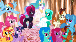 Size: 1920x1080 | Tagged: safe, artist:徐詩珮, autumn blaze, fizzlepop berrytwist, glitter drops, pinkie pie, princess celestia, rainbow dash, spring rain, sunset shimmer, tempest shadow, twilight sparkle, oc, oc:betty pop, oc:miber blaze, oc:spring legrt, alicorn, earth pony, pegasus, pony, unicorn, my little pony: the movie, sounds of silence, broken horn, clothes, crying, dress, female, glitter drops gets all the mares, glitterblaze, glittershadow, half-siblings, horn, horn ring, lesbian, magical lesbian spawn, marriage, next generation, offspring, parent:autumn blaze, parent:glitter drops, parent:spring rain, parent:tempest shadow, parents:glitterblaze, parents:glittershadow, parents:springdrops, shipping, springdrops, tears of joy, twilight sparkle (alicorn), wedding, wedding dress