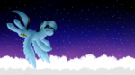 Size: 1920x1080 | Tagged: safe, artist:sevenserenity, oc, oc:icylightning, pegasus, pony, birb, cloud, eyes closed, night, night sky, sky, solo, wings