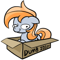 Size: 2228x2228 | Tagged: artist:phat_guy, behaving like a cat, box, derp, derpibooru exclusive, earth pony, female, if i fits i sits, mare, oc, oc:darkest hour, oc only, pony, pony in a box, safe, self deprecation, simple background, sitting, smiling, solo, transparent background