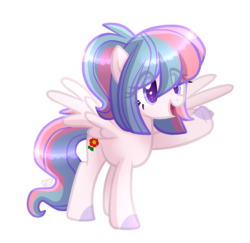 Size: 1117x1084 | Tagged: safe, artist:sugaryicecreammlp, oc, oc only, oc:dhalia dream, pegasus, pony, female, mare, open mouth, ponytail, raised hoof, simple background, smiling, solo, spread wings, transparent background, waving, wings