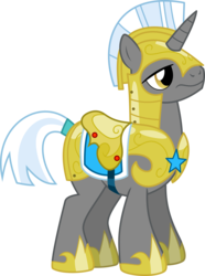 Size: 6000x8081   Tagged: safe, artist:chainchomp2, pony, unicorn, sweet and elite, 3/4 view, absurd resolution, alternate versions at source, armor, helmet, hoof shoes, male, royal guard, royal guard armor, saddle, simple background, solo, stallion, tack, tail wrap, transparent background, unicorn royal guard
