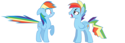 Size: 1280x441 | Tagged: safe, artist:kayman13, rainbow dash, pony, dashblitz, female, male, rainbow blitz, rule 63, self ponidox, selfcest, shipping, straight, worried, yelling
