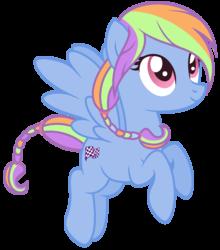 Size: 1172x1332   Tagged: safe, artist:razorbladetheunicron, oc, oc only, oc:skyline wonder, pegasus, pony, lateverse, base used, braid, braided tail, cutie mark, female, flying, magical lesbian spawn, mare, next generation, offspring, parent:cloudchaser, parent:rainbow dash, parents:rainbowchaser, simple background, solo, transparent background