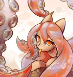Size: 1235x1302 | Tagged: safe, artist:mirroredsea, oc, oc only, monster pony, octopony, octopus, original species, pony, tentacle pony, :p, abstract background, female, i've seen enough hentai to know where this is going, licking, looking at you, mare, monster mare, shiny, silly, solo, tongue out