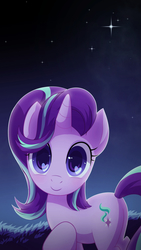 Size: 1440x2560 | Tagged: safe, artist:jeremywithlove, artist:php148, starlight glimmer, pony, unicorn, cute, cutie mark, female, glimmerbetes, grass, heart, heart eyes, looking at you, mare, night, smiling, solo, stars, wingding eyes