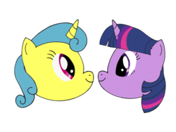 Size: 1024x768 | Tagged: safe, artist:turnaboutart, lemon hearts, twilight sparkle, pony, unicorn, fanfic:twilight sparkle and lemon hearts love life, cover art, eye contact, female, head only, lemonlight, lesbian, looking at each other, shipping