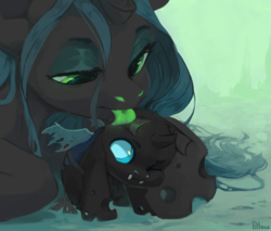 Size: 2351x1999 | Tagged: safe, artist:graypillow, queen chrysalis, changeling, changeling queen, annoyed, behaving like a cat, catling, cheek fluff, cleaning, cute, cutealis, cuteling, fangs, female, fluffy, frown, green tongue, licking, lidded eyes, looking up, mommy chrissy, motherly love, one eye closed, prone, sitting, tongue out, weapons-grade cute, wink