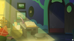 Size: 4700x2625 | Tagged: safe, artist:potato22, pony, a pile of objects, background recreation, book, inkwell, kite, light beams, no pony, paper, quill, realistic shading, room, scroll, starlight's room, table