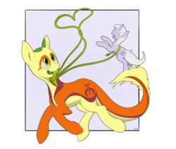 Size: 4114x3480 | Tagged: artist:miaowwww, heart, holding a pony, monster pony, oc, oc:non toxic, oc only, oc:tinisparkler, original species, pony, prehensile tongue, running, safe, simple background, tatzlpony, transparent background, unicorn