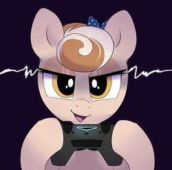 Size: 2030x2000   Tagged: safe, artist:ravensunart, oc, oc:cinnamon spangled, earth pony, pony, controller, female, mare, playstation, playstation 4, simple background, smug, solo, video game