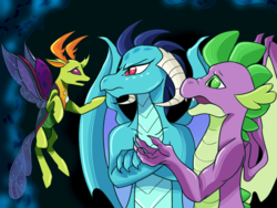 Size: 2048x1536 | Tagged: safe, artist:artfestation, artist:kindheart525, princess ember, spike, thorax, changedling, changeling, dragon, kindverse, bisexual, emberspike, embrax, female, gay, interspecies, king thorax, macro, male, older, older spike, ot3, shipping, size difference, spembrax, straight, thoraxspike