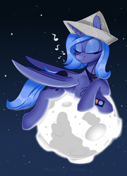 Size: 2126x2953 | Tagged: safe, artist:php97, princess luna, alicorn, pony, cartographer's cap, cute, earbuds, eyes closed, female, hat, ipod, lunabetes, mare, moon, mp3 player, music notes, paper hat, pony bigger than a planet, s1 luna, solo, space, tangible heavenly object