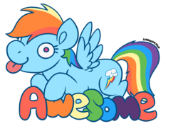 Size: 800x592 | Tagged: alternate version, artist:darkodraco, awesome, derp, female, mare, pegasus, pony, rainbow dash, safe, simple background, smiling, solo, spread wings, tongue out, transparent background, wings