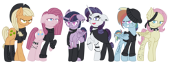 Size: 2374x910 | Tagged: alicorn, alternate hairstyle, alternate version, anklet, artist:irennecalder, bandana, beanie, boots, bracelet, cape, choker, clone, clone six, clothes, commission, cowboy hat, ear fluff, ear piercing, earring, earth pony, eye scar, eyeshadow, female, gloves, hat, headcanon, hoodie, horn ring, jewelry, makeup, mare, mean applejack, mean fluttershy, mean pinkie pie, mean rainbow dash, mean rarity, mean twilight sparkle, open mouth, pegasus, piercing, pony, raised hoof, safe, scar, scarf, shirt, shoes, short hair, short mane, sidecut, simple background, socks, spiked choker, spiked wristband, stockings, tattoo, the mean 6, thigh highs, transparent background, undercut, unicorn, wristband