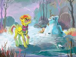 Size: 2300x1708 | Tagged: safe, artist:dearmary, oc, oc only, oc:anonymous sandwich, pegasus, pony, glasses, male, scenery, snow, snow kirin, solo, stallion, winter
