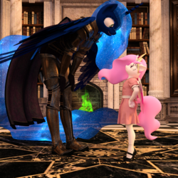 Size: 2000x2000 | Tagged: safe, artist:tahublade7, princess celestia, princess luna, alicorn, anthro, plantigrade anthro, 3d, age regression, armor, book, cewestia, clothes, female, filly, filly celestia, fire, fireplace, hand on hip, leaning forward, looking at each other, mary janes, pink-mane celestia, shoes, socks, warrior luna, younger
