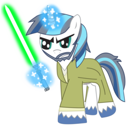 Size: 894x894 | Tagged: age difference, artist:ejlightning007arts, beard, facial hair, jedi, lightsaber, luke skywalker, magic, pony, robes, safe, shining armor, simple background, star wars, transparent background, vector, weapon