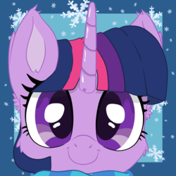 Size: 750x750 | Tagged: alicorn, artist:bigshot232, cheek fluff, clothes, cropped, cute, ear fluff, pony, safe, scarf, smiling, snow, snowflake, twiabetes, twilight sparkle, twilight sparkle (alicorn)