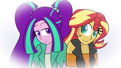 Size: 1280x720 | Tagged: safe, artist:jake heritagu, aria blaze, sunset shimmer, comic:aria's archives, equestria girls, equestria girls series, female, lesbian, looking at each other, shipping, sunblaze
