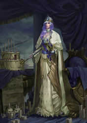 Size: 2059x2912 | Tagged: dead source, safe, artist:sunset tide, princess celestia, human, beautiful, cake, cakelestia, candle, cape, chair, clothes, crown, elf ears, female, fine art emulation, food, human skull, humanized, jewelry, majestic, map, map of equestria, painterly, painting, queen, queen celestia, regalia, scepter, skull, solo, technically advanced, throne, unicorns as elves, woman