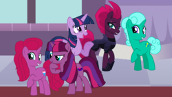 Size: 1920x1080 | Tagged: safe, artist:徐詩珮, fizzlepop berrytwist, glitter drops, tempest shadow, twilight sparkle, oc, oc:betty pop, oc:eany sparkle, alicorn, pony, unicorn, broken horn, family, female, glittershadow, glittershadowlight, half-siblings, horn, lesbian, magical lesbian spawn, mother and daughter, next generation, offspring, parent:glitter drops, parent:tempest shadow, parent:twilight sparkle, parents:glittershadow, parents:tempestlight, polyamory, shipping, tempestlight, twilight sparkle (alicorn)