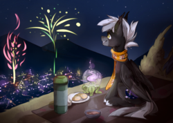 Size: 2110x1500 | Tagged: safe, artist:lonerdemiurge_nail, oc, oc:midnight serenity, bat pony, hybrid, pegasus, pony, blanket, buns, clothes, fangs, fireworks, food, picnic, picnic blanket, scarf, smiling, solo, tea, thermos