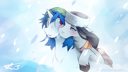 Size: 3723x2120 | Tagged: safe, artist:icychamber, dj pon-3, octavia melody, vinyl scratch, earth pony, pony, unicorn, beanie, blushing, clothes, female, floppy ears, hat, kiss on the cheek, kissing, lesbian, looking at each other, mare, missing accessory, red eyes, scarf, scratchtavia, shipping, snow, snowfall, wrong eye color
